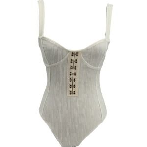 Forever21 White Body Suit Metal Closure